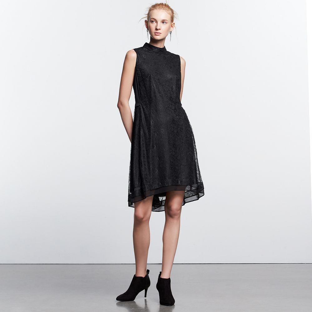 Women's Simply Vera Vera Wang Simply Noir Lace Mockneck Dress, Size: Small, Black