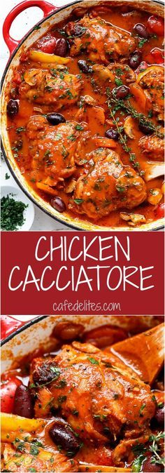 Slow cooked Chicken Cacciatore, with chicken falling off the bone in a rich and rustic sauce is simple Italian comfort food at its best.   http://cafedelites.com