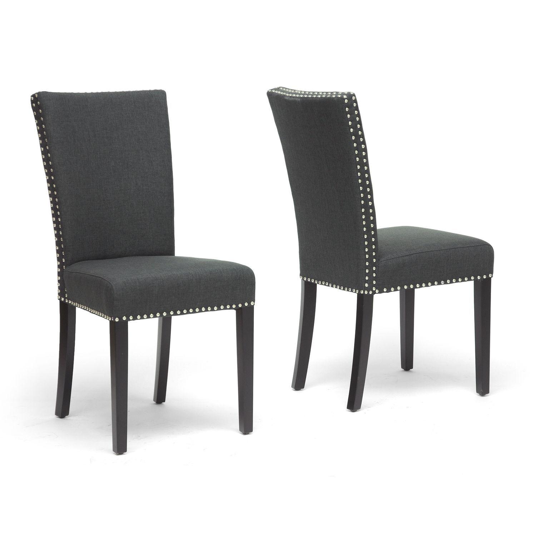 Baxton Studio Harrowgate Dark Gray Linen Modern Dining Chair Set