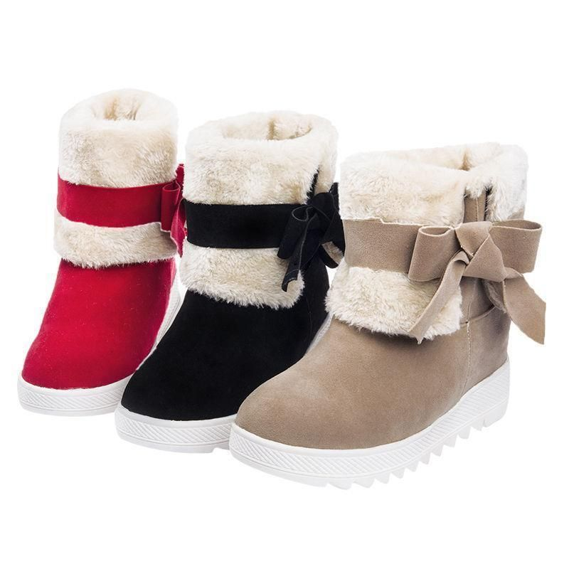 Women Bow Tie Fashion Winter Snow Warm Boots Bowknot Round Toe Mid Calf Shoes US