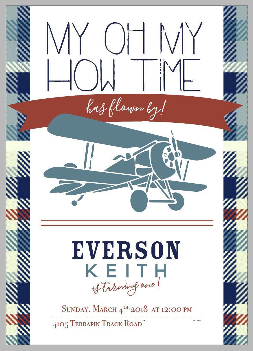 Airplane Birthday Invitation Airplane Invitation Time Flies Birthday ...