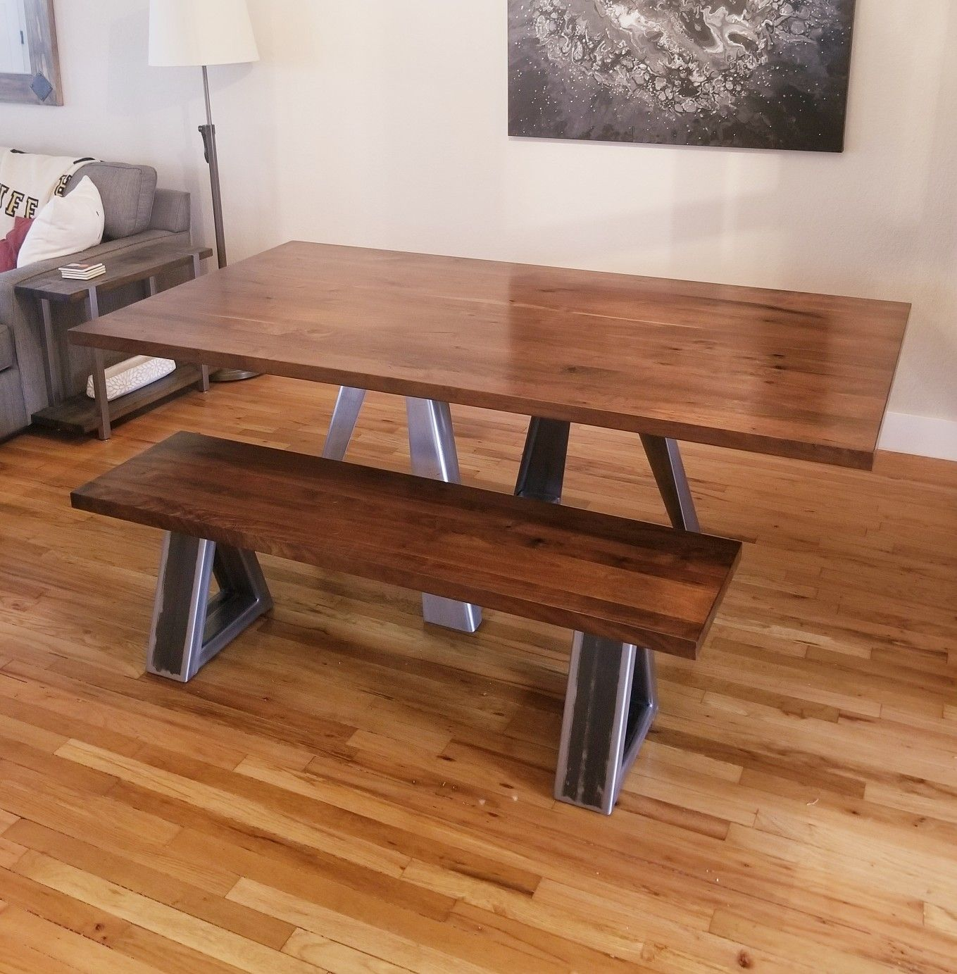 Custom Walnut wood and steel dining table and ...
