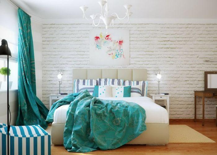 deko ideen schlafzimmer bild ziegelwand lange grüne gardinen - deko ideen schlafzimmer