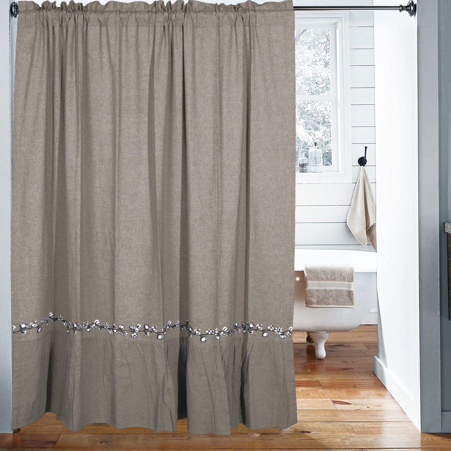 Farmhouse cotton shower curtain rustic shower curtains