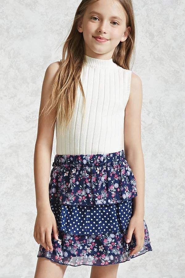 Forever 21 Girls Tiered Skirt (Kids) | Girls sports ...