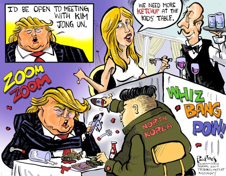 Image result for north korea and trump cartoons