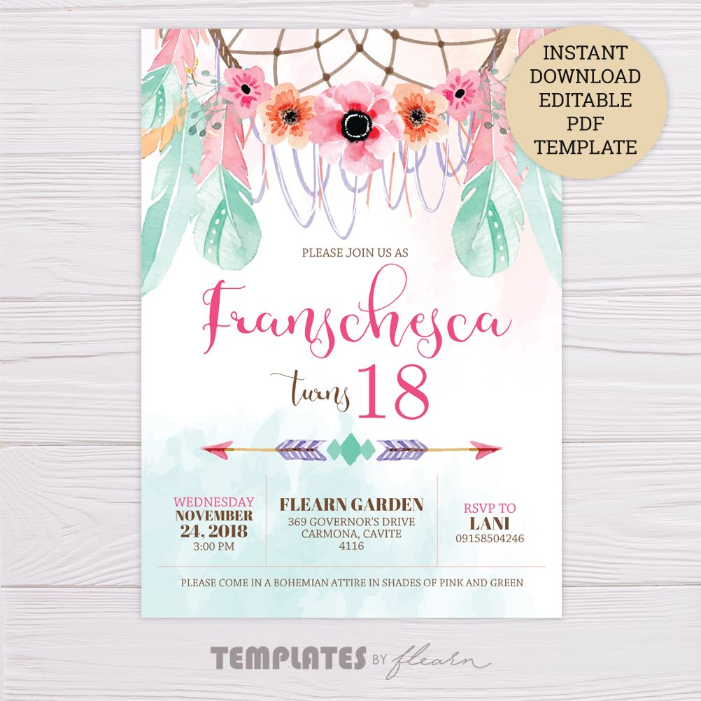 Pink & Green Bohemian Invitation Template – Dgtally  Free