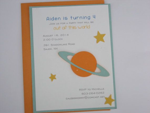 Space Planet Birthday Invitation Space by daffodilsndaisys on Etsy