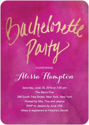 Lush Party Signature White Bachelorette Party Invitations