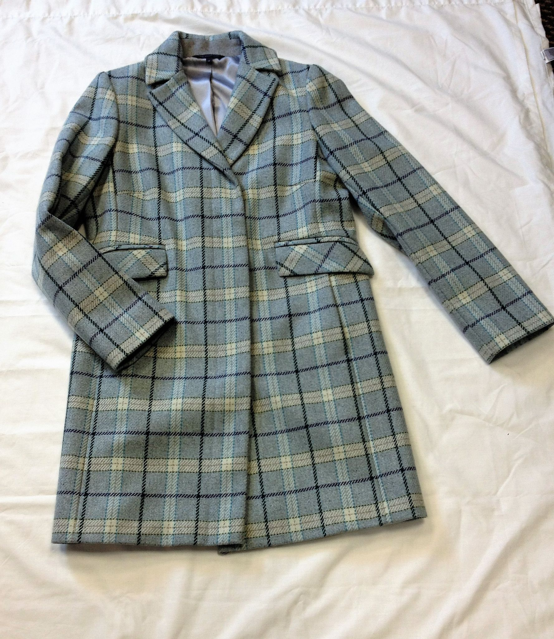 MARKS & SPENCER COLLECTION BLUE CHECK WOOL BLEND COAT SIZE 10 RRP £110 *BNWOT*