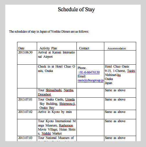 Sample Schedule Of Stay Japan Visa Japan Japan Itinerary Itinerary