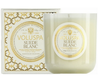 """Voluspa's """"Suede Blanc"""" scented candle.  Masculine (but gentle) with buttery-soft suede and notes of cedar."""