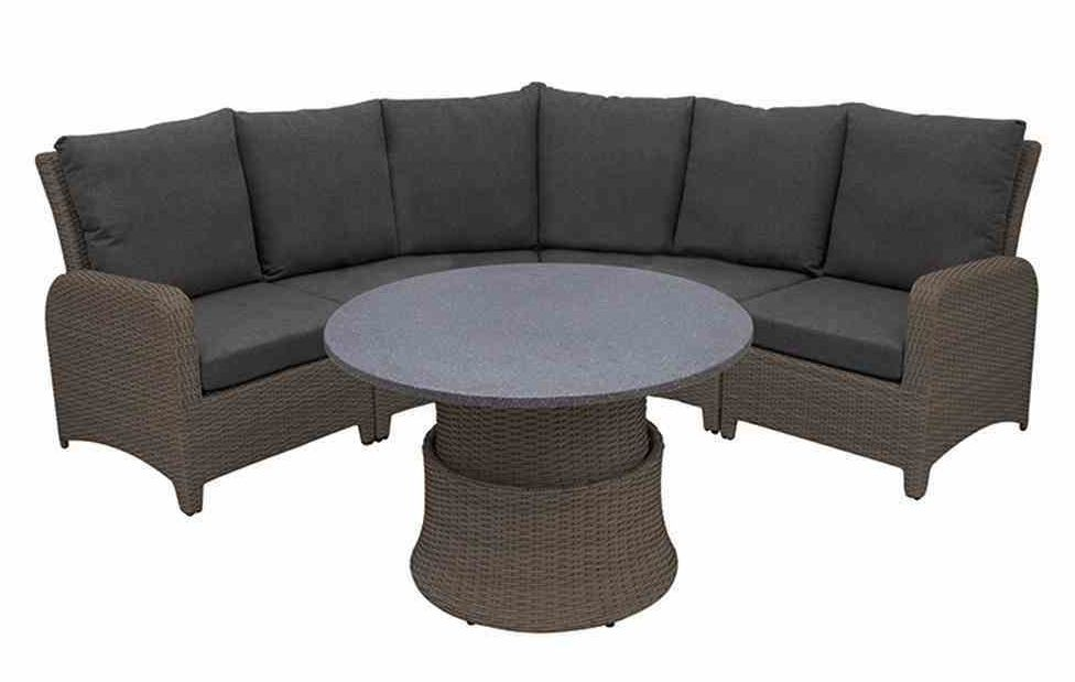 Siena Garden Lounge Set Pescara, Bronze Aluminium / Geflecht Bronze,  Inklusive Kissen Hochwertiges Lounge