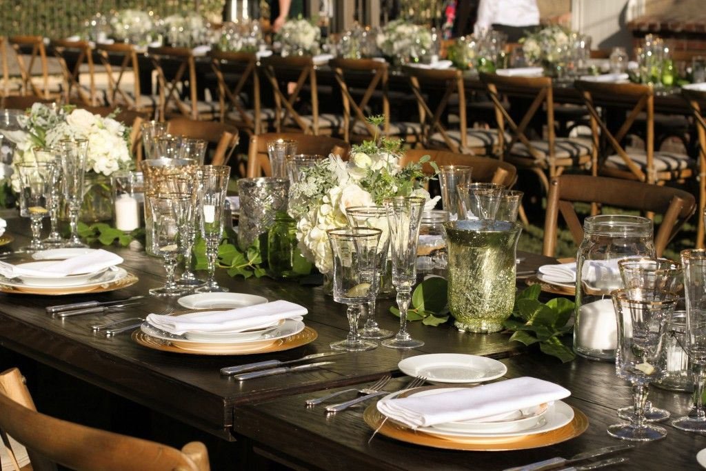 Farm Table, gold, green, white, rustic, wedding, reception, catering ...