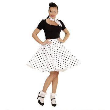 f354517744 Comprar Falda de Lunares Blanca años 50 con Pañuelo grease talla única