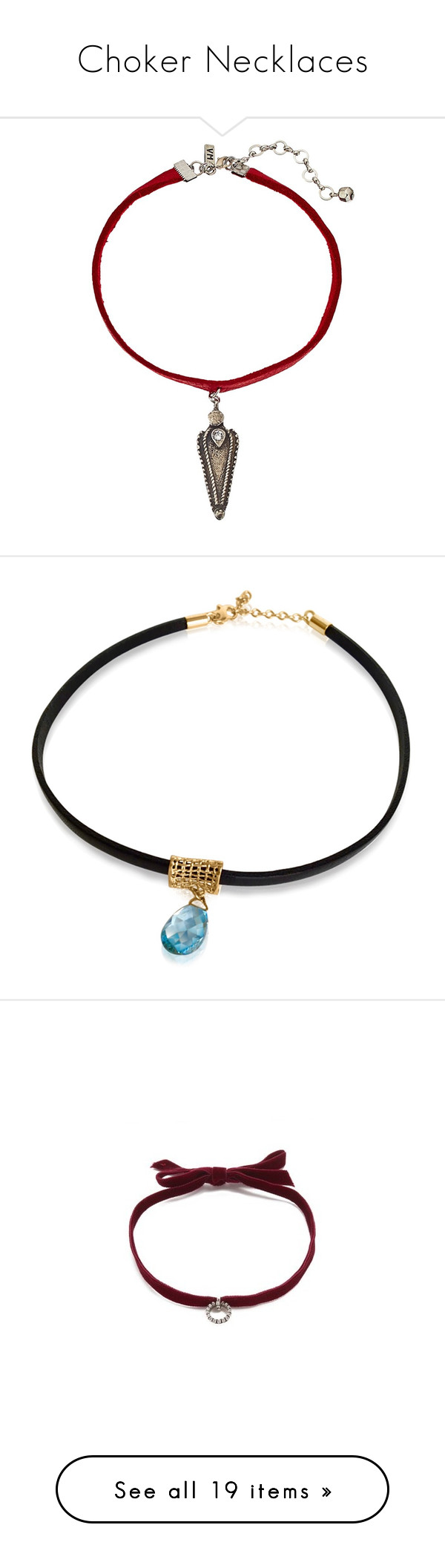 """""""Choker Necklaces"""" by karai ❤ liked on Polyvore featuring jewelry, necklaces, silver pendant necklace, chain choker necklace, red pendant necklace, leather necklace, silver necklace pendant, accessories, chain choker and chain necklaces"""