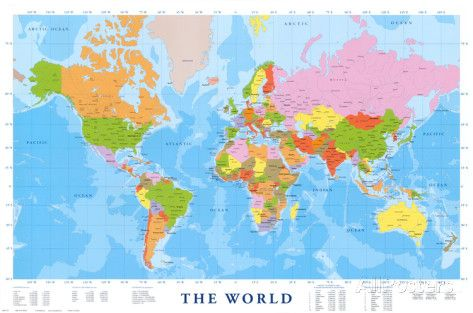 Cartina Geografica Del Mondo Grande.Carta Geografica Del Mondo Poster Poster Geografia Mondo