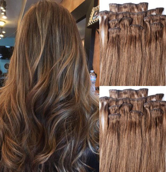 22 Clip in Hair Extensions Real Human Hair 100 gram Clip on for Full Head 7 pieces, 14 clips, Weft Remy Hair # 6 Medium Chestnut Brown #humanhairextensions