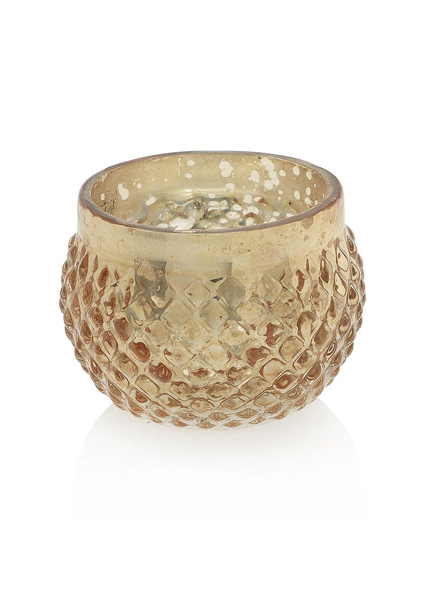 "Wedding Decorations - Gold Mercury Glass Candle Holder in Rose Gold 2.75"" x 2"""