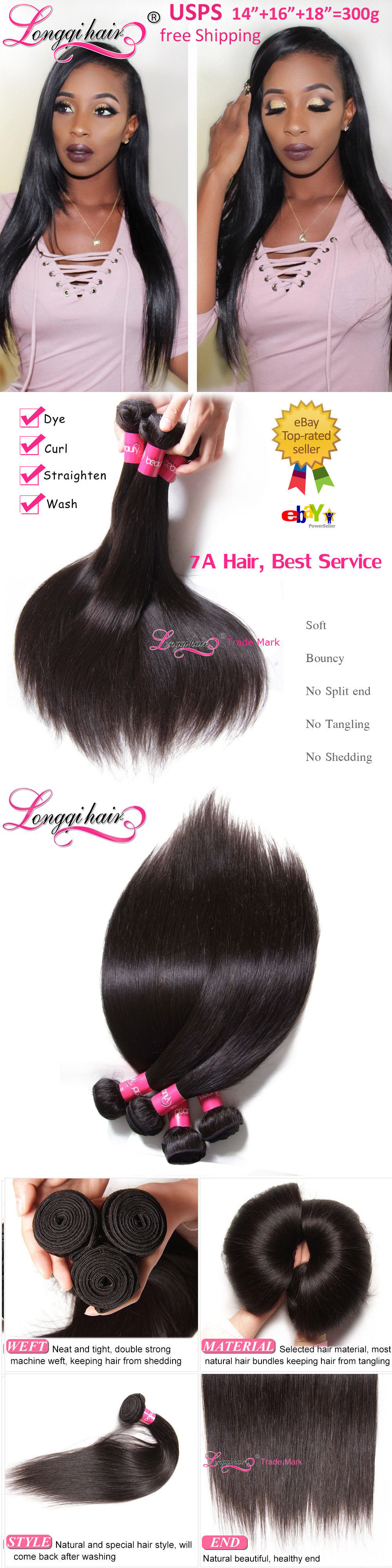Hair Extensions 300g Thick 3 Bundles 7a 100 Unprocessed Peruvian