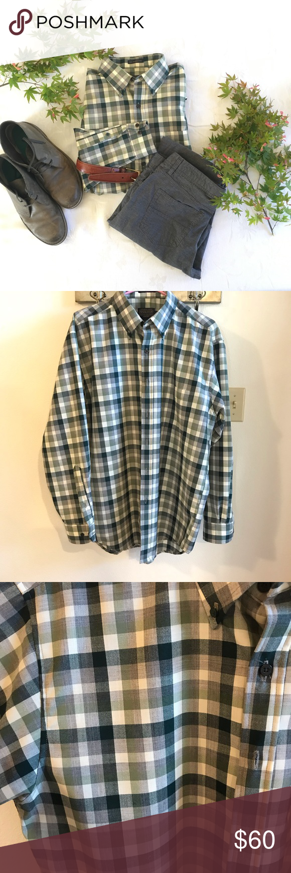 """6cc7248869 Pendleton plaid shirt NWOT Green and off white plaid """"Warranted to be a  Pendleton"""" Dress shirt. Super soft and not itchy at all. Green"""