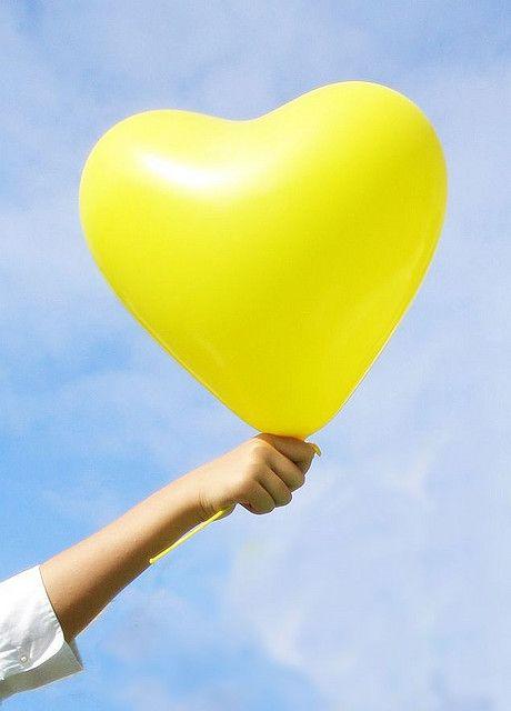 Yay Yellow Heart Yellow Balloons Blue Yellow