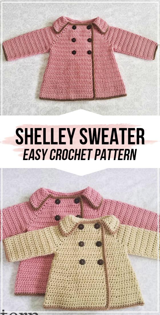 crochet The Shelley Girl's Sweater pattern #vestidosparabebédeganchillo
