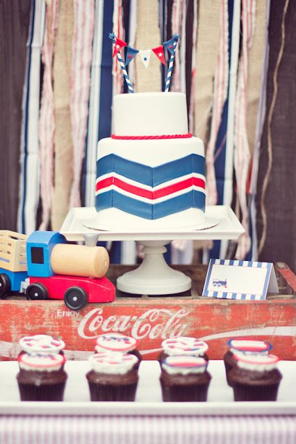 vintage train party by Paiges of Style {printables in her shop}...that chevron cake is AWESOME