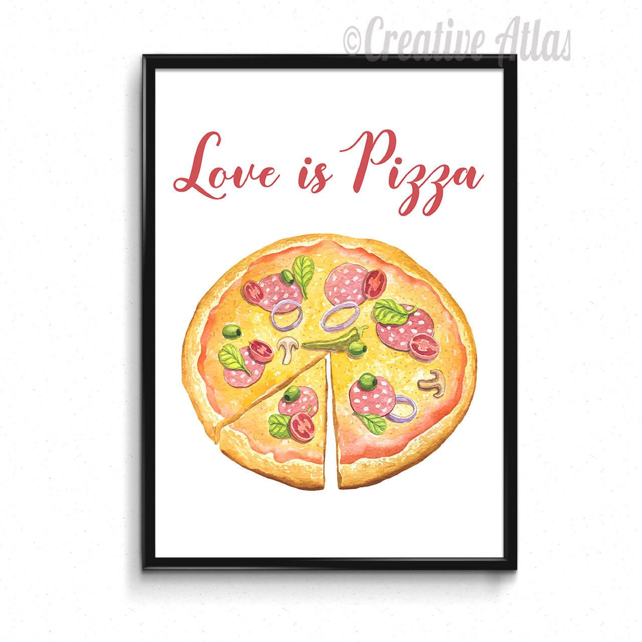 Pizza print,Food printable,Kitchen wall art,Pizza quote poster,Chef ...