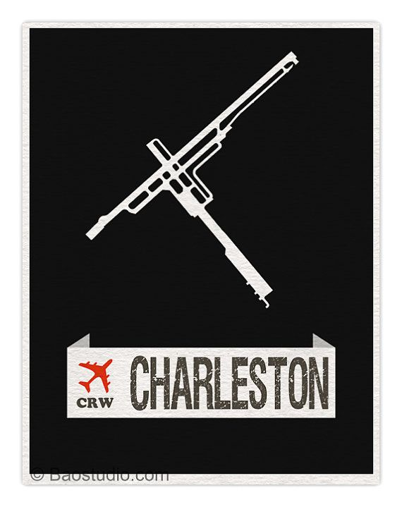 Fly me to Charleston CRW West Virginia World by PineShore on Etsy