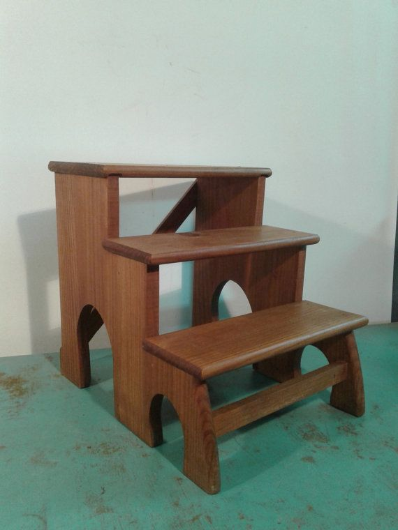 Astounding Vintage Wood Three Step Stool Made In Solid Wood From The Pdpeps Interior Chair Design Pdpepsorg