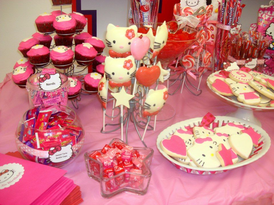 Hello Kitty Candy Table Candy Table Candy Buffet Candy Jars