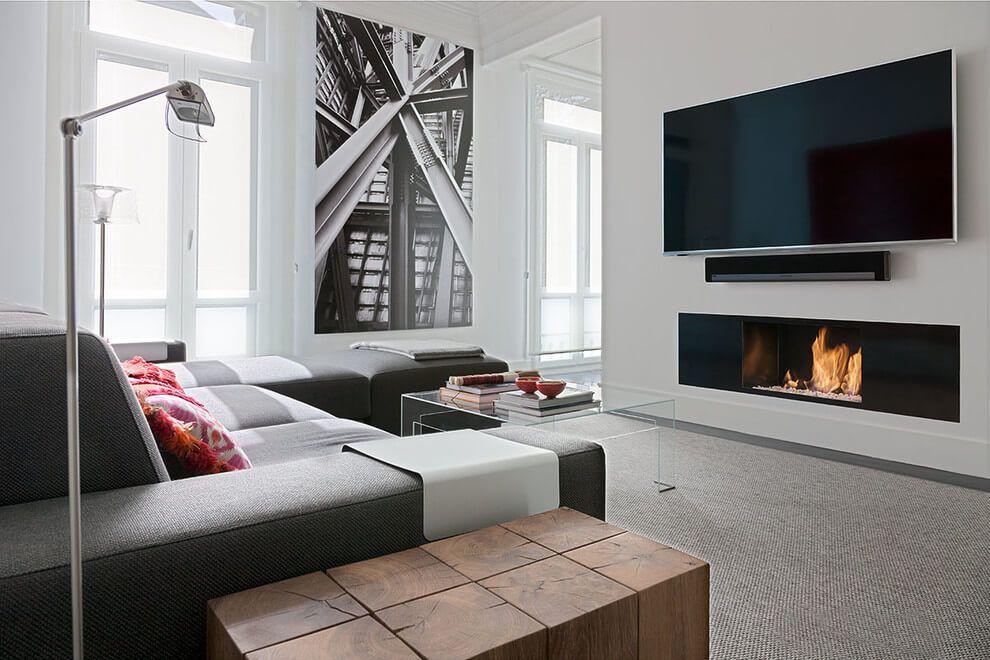 Foto muro de tablaroca con chimenea y tv integrados - Poner pladur en pared ...