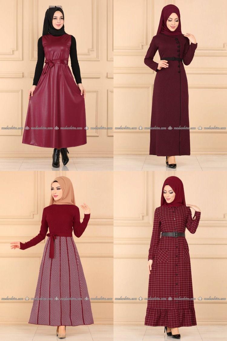 2020 Kis Modaselvim Bordo Tesettur Elbise Modelleri 3 7 2020 Elbise Elbise Modelleri Moda Stilleri