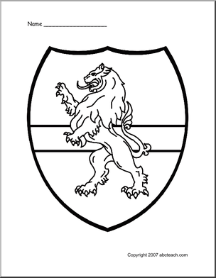 Medieval Classroom Theme Of 1 Coloring Page Medieval Shield Lion