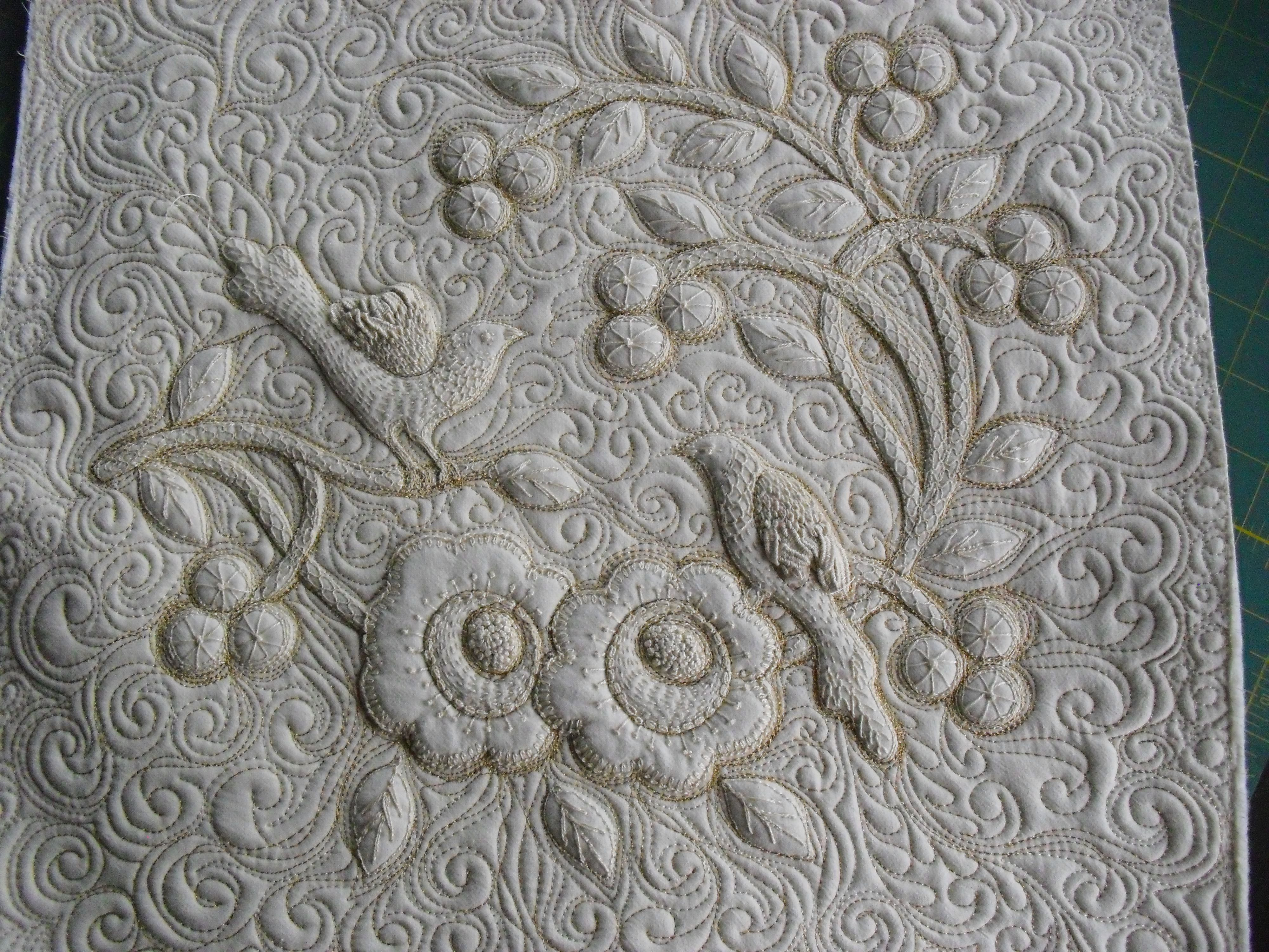 Trapunto with bobbin work and hand embroidery my