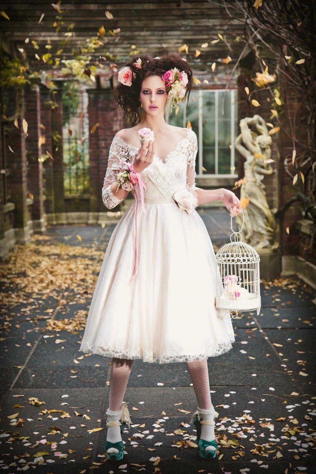 Vintage wedding tea dress  Joanne Fleming Design Primrose and Finch Immortal Beloved shoot