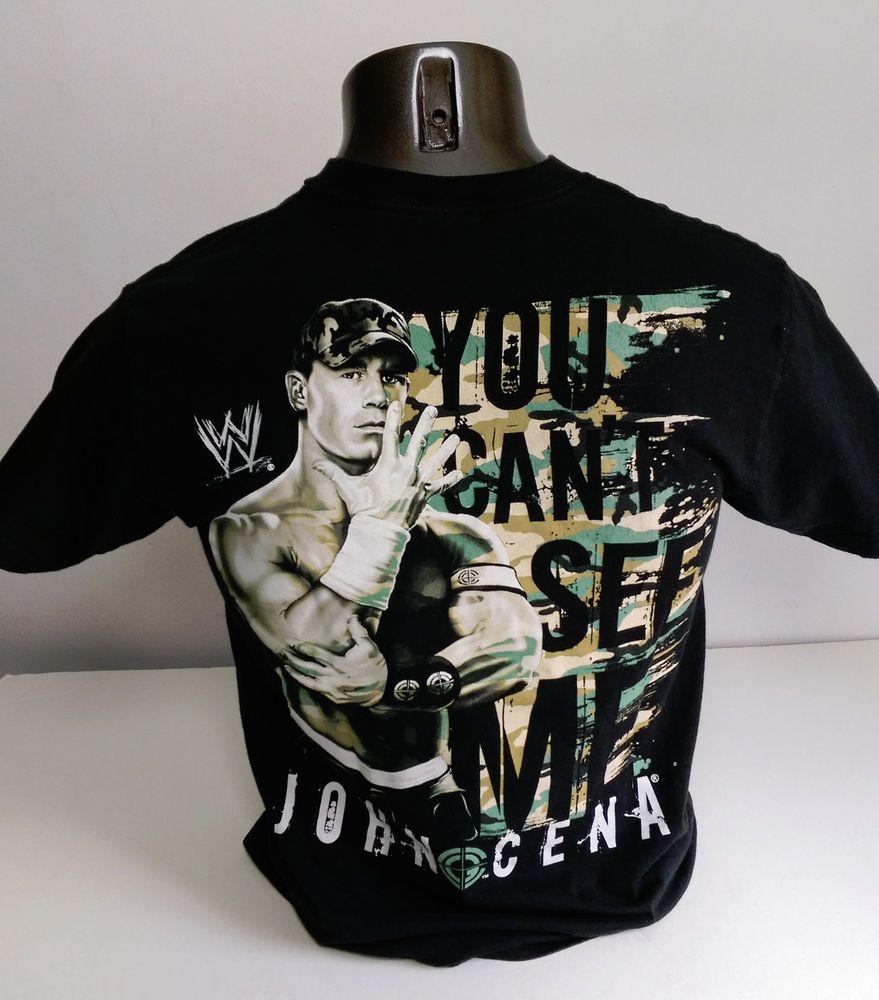 VTG WWE John Cena Chain Gang You Can't See Me T-Shirt Mens MEDIUM M WWF ROH Camo #WWE #JohnCena #Wrestling