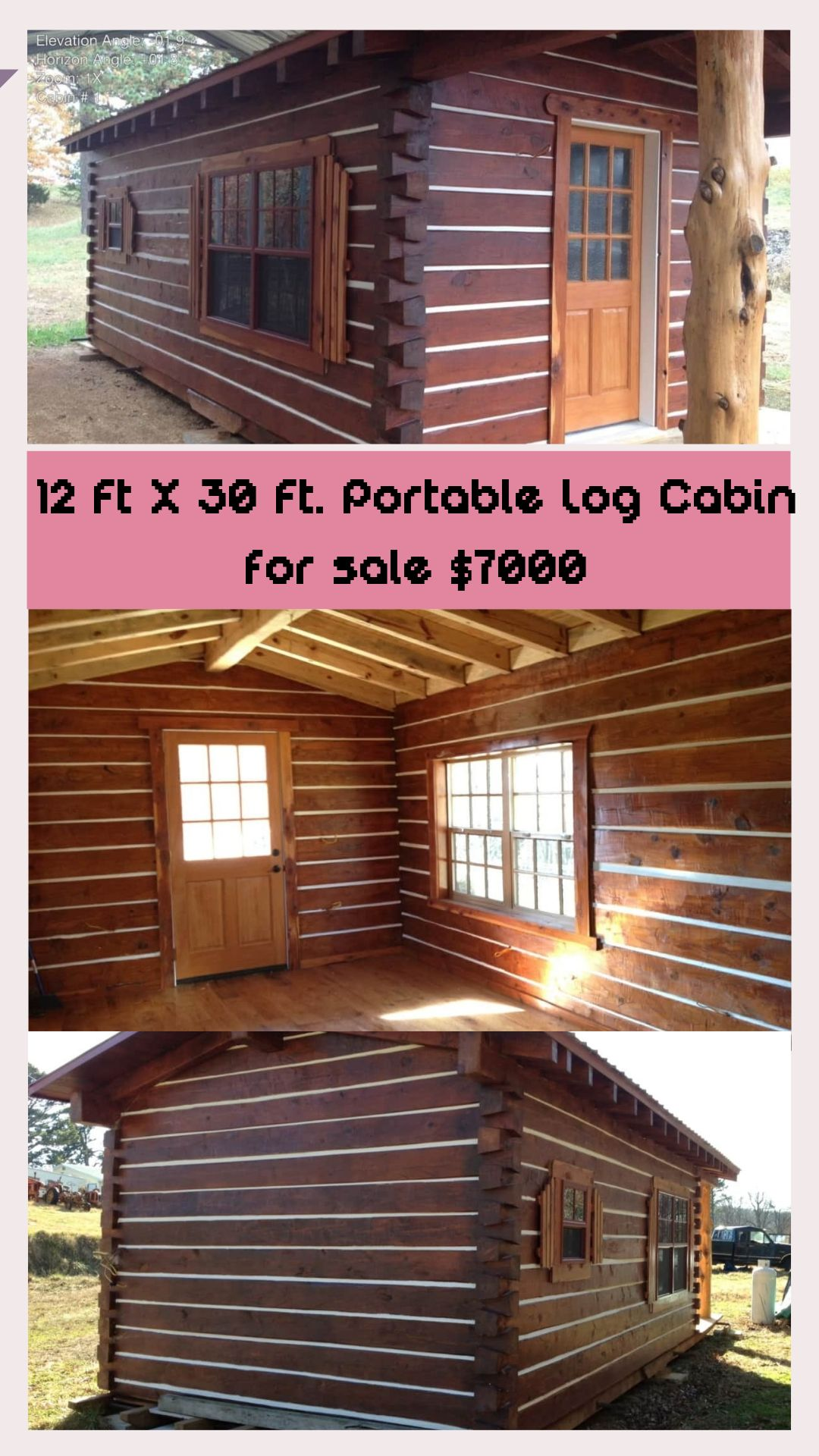 12 Ft X 30 Ft Portable Log Cabin For Sale 7000 Log Cabins For Sale Cabins For Sale Tiny Log Cabins