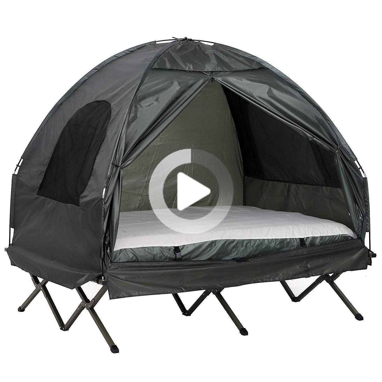 Outsunny Outdoor Travel Double Camping Cot Tent Green In 2020 Camping Cot Tent Cot