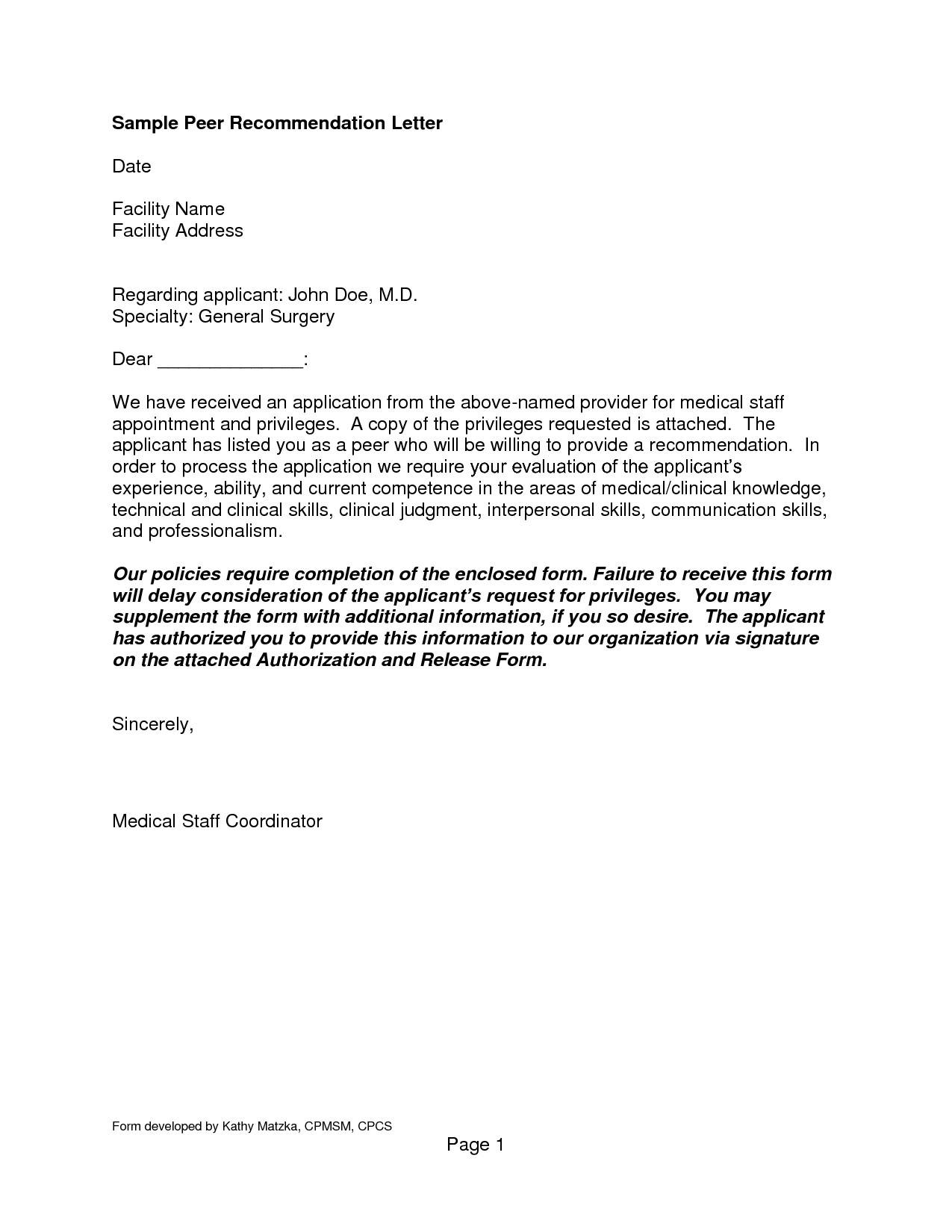 Fresh General Letter Of Recommendation Sample Download ...