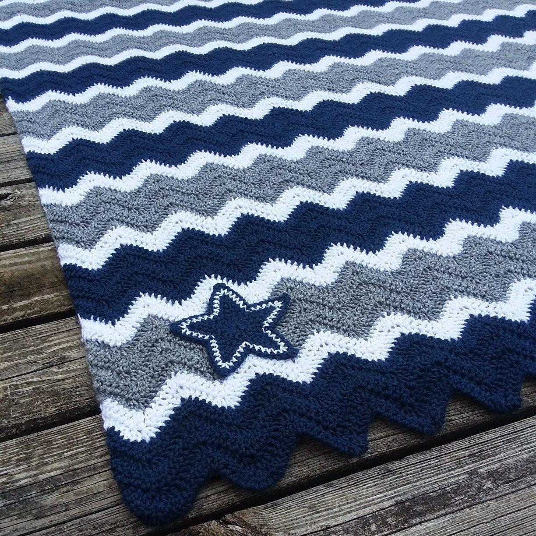 Dallas Cowboys Crochet Chevron Blue, Grey and White Blanket ...