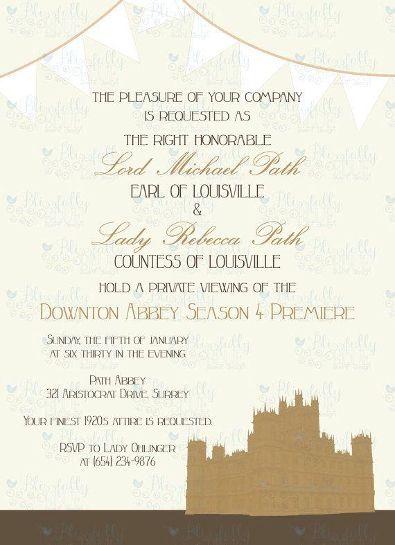 Downton Abbey Season 4 Premiere Party Invitation 5x7 DIY