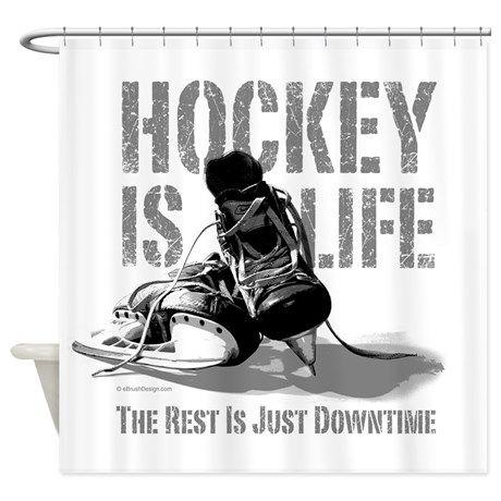 Hockey Is Life Shower Curtain Hockey Hockey Room Hockey Bedroom