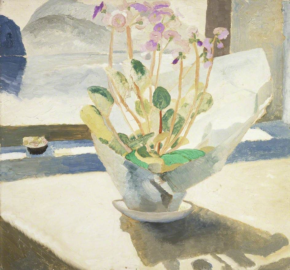 winifred nicholson(1893–1981), primulas, 1921–22. oil on hardboard, 53.1 x 57.7 cm. manchester city galleries, uk http://www.bbc.co.uk/arts/yourpaintings/paintings/primulas-205727
