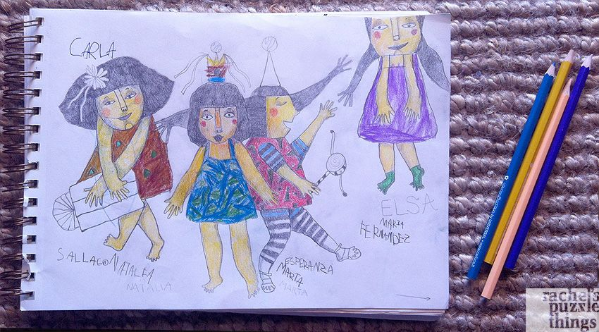Illustration made with my daughter. She suggested the theme and colored and I drew it, by Rachel´s Puzzle Things. Children illustration. Party. Drawing.