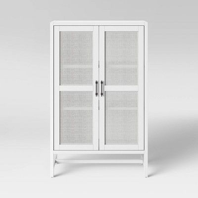 Warwick Wood Rattan Library Cabinet White Threshold In 2020 Wood Rattan Library Cabinet Farmhouse Interior