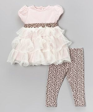Look at this #zulilyfind! Nannette Baby Pink Ruffle Dress & Polka Dot Leggings - Infant by Nannette Baby #zulilyfinds