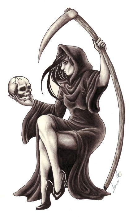Female Grim Reaper Tattoo Drawing