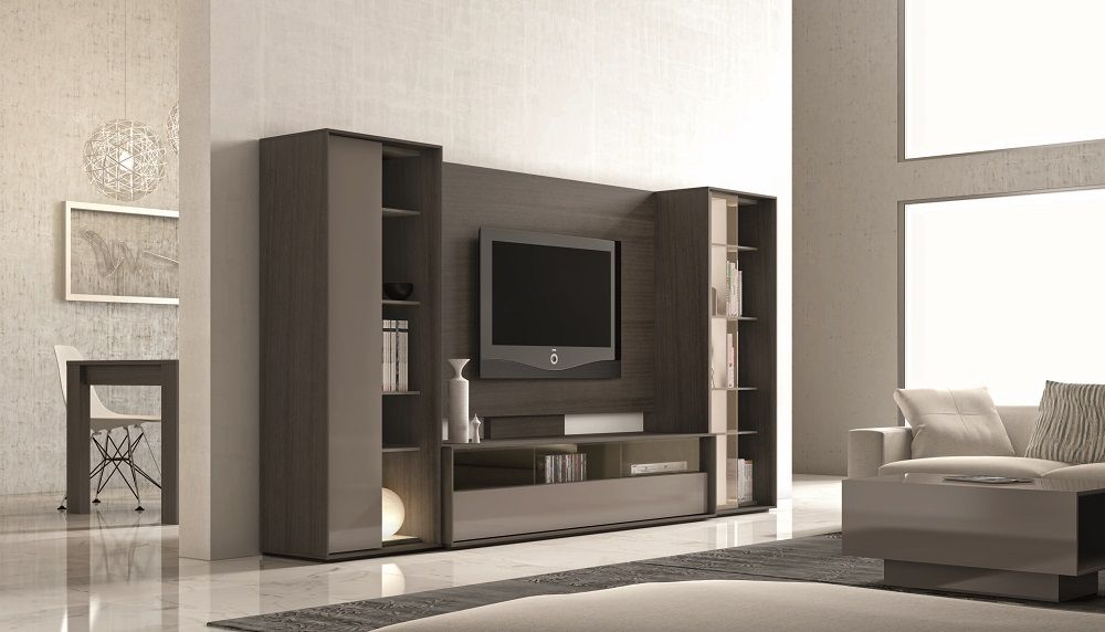 Ultra Contemporary Lacquered Wall Unit With Display Shelves And